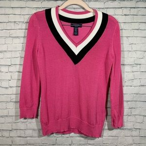 Chaps Pink ¾ Sleeve V-Neck Sweater Petite XS